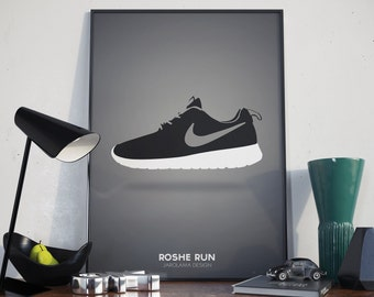 Nike Roshe Run Shoes poster. A3.