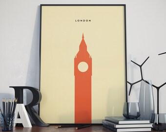 London Big Ben Print. A3 Poster.