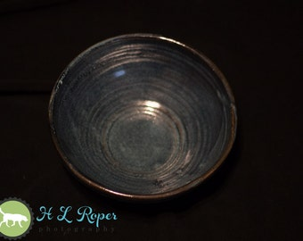 Medium Blue Lizella Earthenware Bowl; Army Veteran