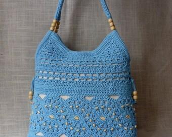 Crochet bag Blue handmade crochet handbag .Summer cotton boho crochet purse Knit bag Knit handbag Knit purse Made to order