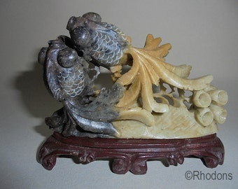 Vintage Chinese Fish Carved Soapstone Figure Group - Black Moor Fantail
