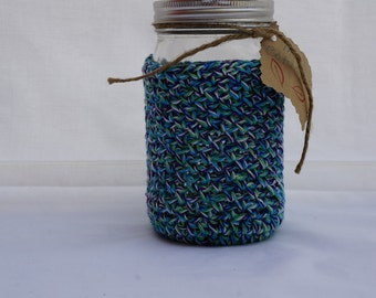 Mason Jar Cozy, Crocheted Cozy, Gifts For Dad, Gifts For Mom, Gifts Under 10.00, Purple, Green, Blue