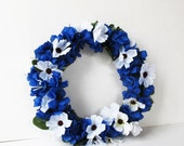 ON SALE White Blue Flowers Wreath Artificial Flower Blossoms Wreaths Front Door Decoration Spring Table Centerpiece Summer Wedding Gift