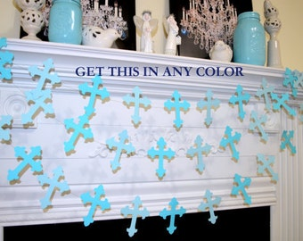 God bless your child banner garland, cross garland, Christening, dedication, first communion, baby shower, baptism garland cross decoration
