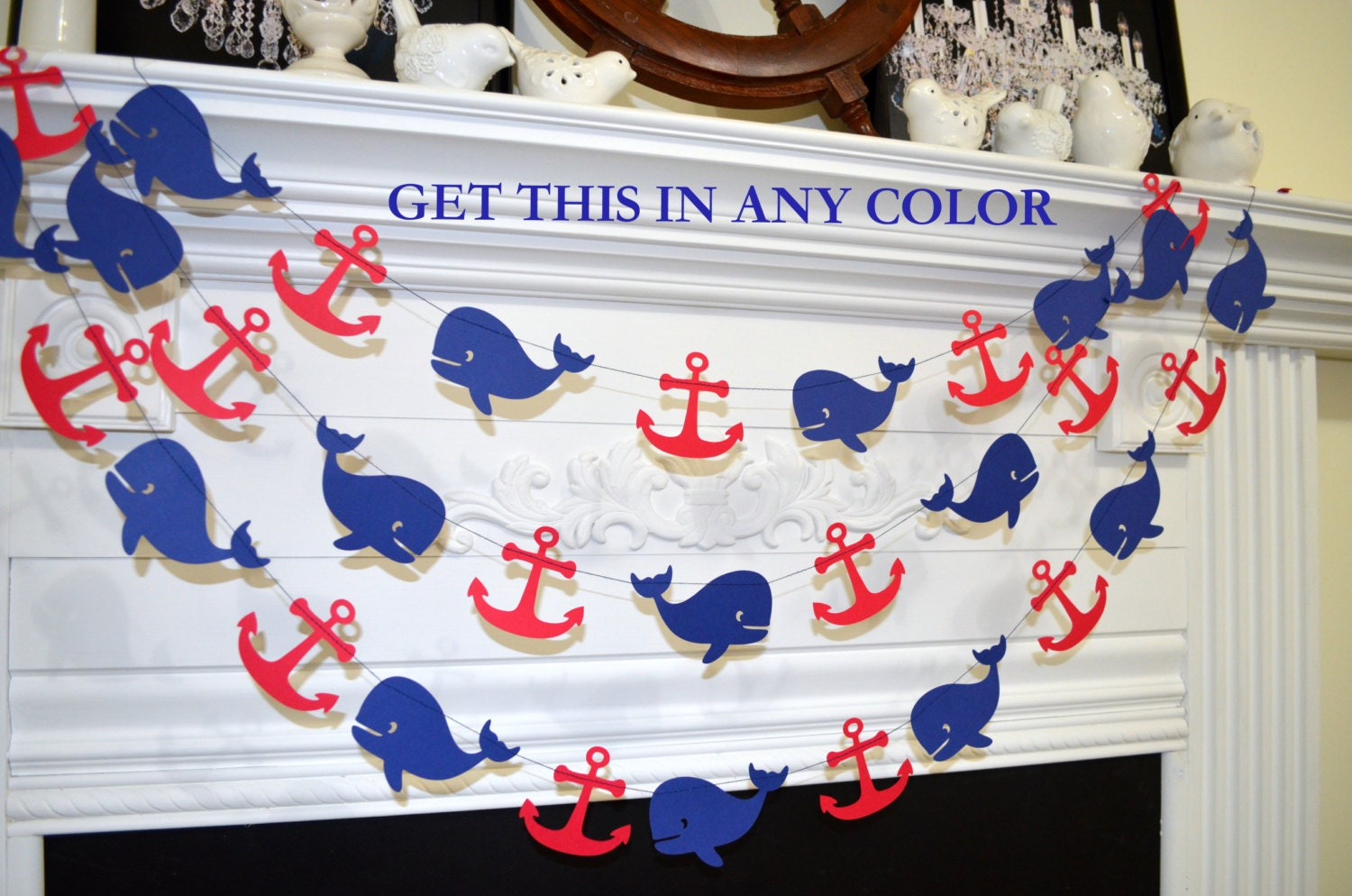 Whale garland nautical anchor whale decoration nautical baby for Anchor decoration party