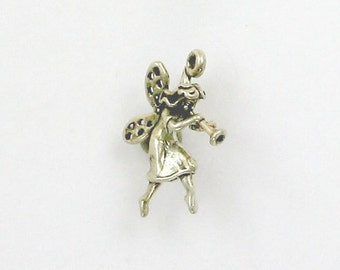 Sterling Silver 3-D Fairy with a Horn Charm