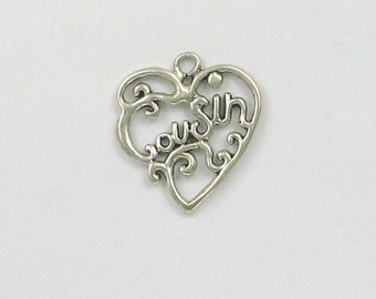 Sterling Silver Cousin Filigree Heart Charm - hlw53