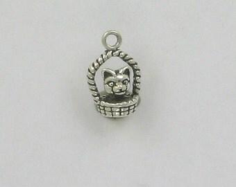 Sterling Silver 3D Kitten in a Basket Charm - dc33