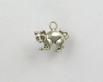 Sterling Silver 3D Alley or Feral Cat Charm - dc82