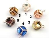 4pcs Rhinestone Crystal Square Rose Gold Cube Earring Charm Pendant FA36