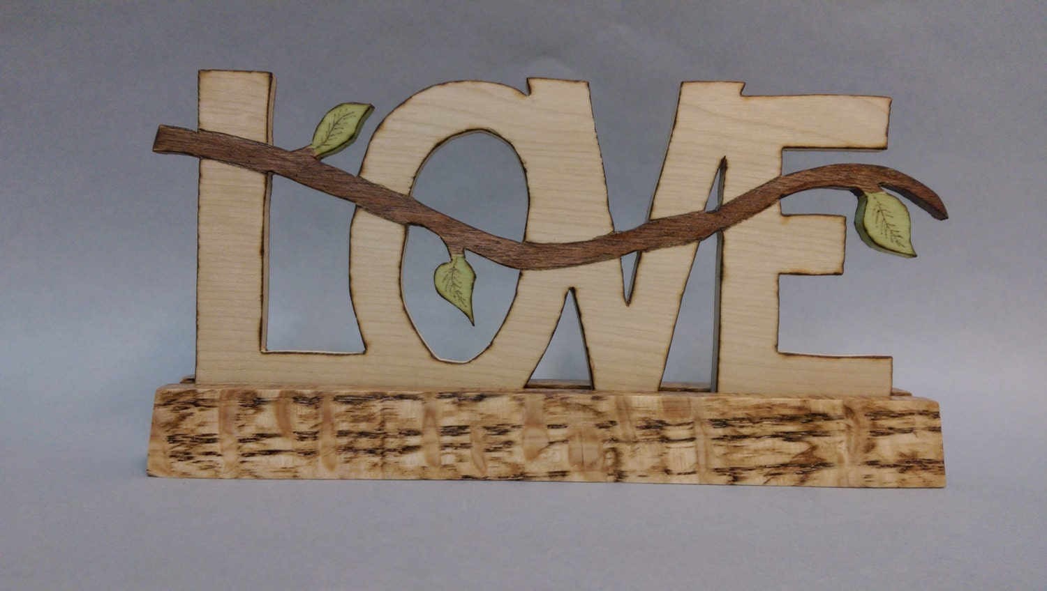Very Impressive portraiture of Love wooden sign with stand scroll saw by cordrickcreations with #63462F color and 1500x848 pixels