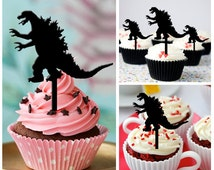Ca294 New Arrival 10 pcs/Decorations Cupcake Topper/ Godzilla /Wedding/Silhouette/Props/Party/Food & drink/Vintage/Fun/Birthday/Shop