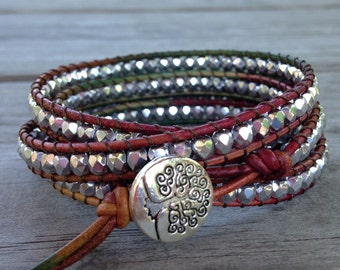 Silver Czech Beaded Quad Multicolored Leather Wrap Bracelet