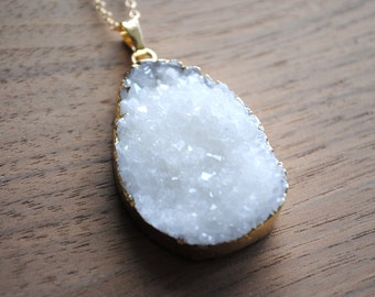 """Long Druzy Necklace - White Druse Crystal with Gold Edge on 30"""" 14k Delicate Gold Filled Chain"""