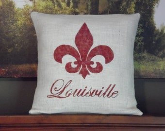 Custom made monogrammed name/state/city rustic ivory burlap red (or custom color) fleur de lis pillow cover/sham. Custom size/color option