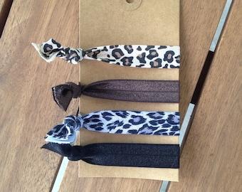 Animal print and solid hair ties