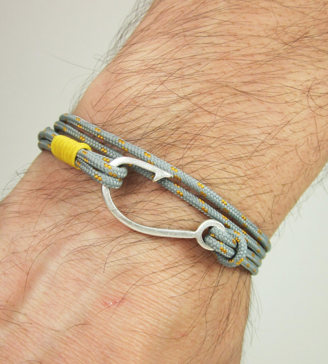 Fish hook bracelet in grayyellow rope bracelet by zecollection for Fish hook paracord bracelet