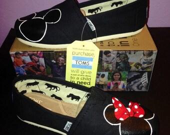 Black Disney Toms -Mickey/Minnie Silhouette