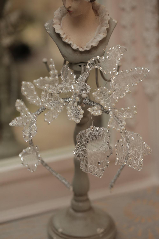 Wedding Silk Flower Halo With Swarovski Crystals Butterflies