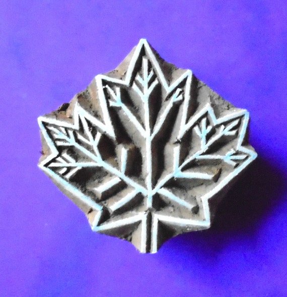 Maple leaf wood stamp hand carved fabric textile clay pottery