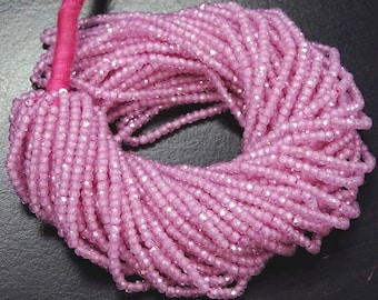 Big Sale 35% Off Full 13 Inch X 10 Strand AAA Quality PINK Color ZIRCON Drilled Faceted Rondelle Beads 3 mm.