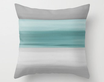 Abstract Throw Pillow Cover Grey Muted Teal Modern Home Decor Living Room Bedroom Accessories Cushion Cover