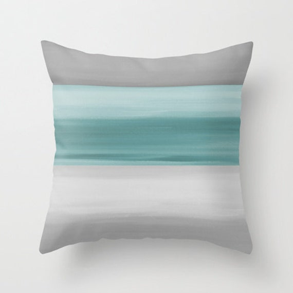 Modern Bedroom Pillows : Abstract Throw Pillow Cover Grey Muted Teal Modern Home