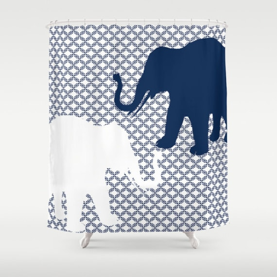 Elephant shower curtain navy white art bathroom accessories for Navy and white bathroom accessories