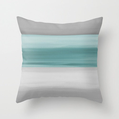 Abstract Throw Pillow Cover Grey Muted Teal Modern Home
