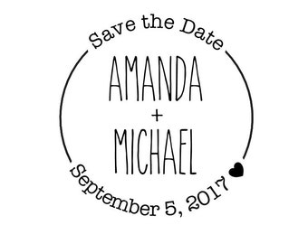 "Round Save The Date Stamp, personalised stamp, wedding stamp, 1.7""x1.7"" (cstd63)"
