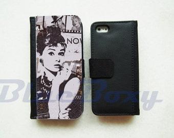Audrey Hepburn Wallet Case for iPhone 7, iPhone 6, iPhone 6s, iPhone 6 Plus, iPhone 5, iPhone 5s, iPhone 4/4s, Wallet Case, Flip Case