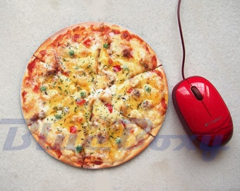 Pizza Mousepad, Office Mousepad, Computer Mouse Pad, Fabric Mousepad