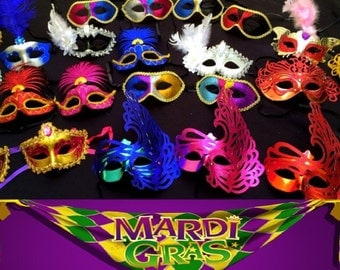 Lot of 10 Mardi Gras Party Favor MASKS Wholesale Bulk Weddings / New Year's / Birthdays