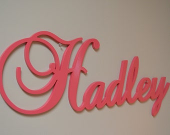 Large Wooden Script Name, Word, or Phrase, Cursive Letters- perfect for a wreath, accent wall, child's room, or nursery
