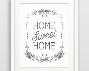 Home Sweet Home Typography Print, Quote Poster, Wall Art Home Decor, Housewarming Gift, Hallway Decor