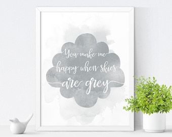 Printable Nursery Art, You Make Me Happy, Kids Room Decor, Nursery Decor, Kids Wall Art, Gender Neutral, Instant Download