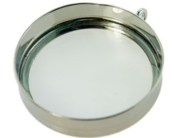 """Silver Colored """"Looking Glass"""" Bezel Pendant from Lisa Pavelka  (3000SC-48)"""