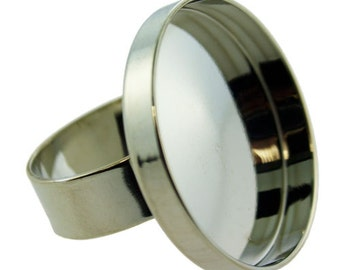 """Round Bezel Ring 1"""" ID Silver Color  (3000SC-51)"""