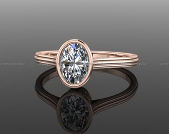 Oval Moissanite Engagement Ring, Engagement Ring, 14k Rose Gold, Promise Ring Re00147w