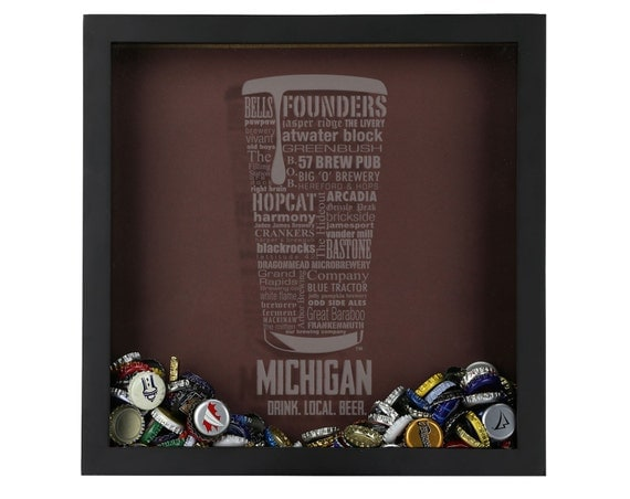 beer cap shadow box beer cap collector michigan by On craft beer typography beer cap shadow box beer cap collector