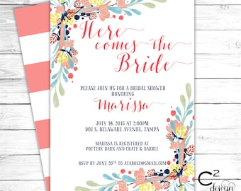 Here Comes the Bride Floral Shower Invitation
