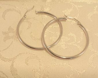 """Sterling Silver Hoop Earrings 1.5"""" Diameter - EB304"""