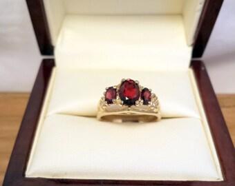 Whimsical Deep Red Garnet Ring in 14k Gold - EB333