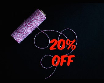 20% OFF Pink Bakers Twine 100yards - Gift wrapping, party favors, wedding decorations.