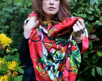 Summer flowers large red silk scarf - peony and lily design - FREE SHIPPING