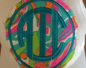 Lilly Pulitzer Monogrammed Fabric Patch for hats...2.5 inch circle option