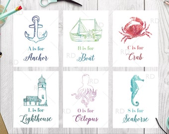 Sea Creatures & Nautical Alphabet Art PRINTABLES / Nursery art / Nautical Nursery Art / Children's Art / Underwater Life Alphabet Art