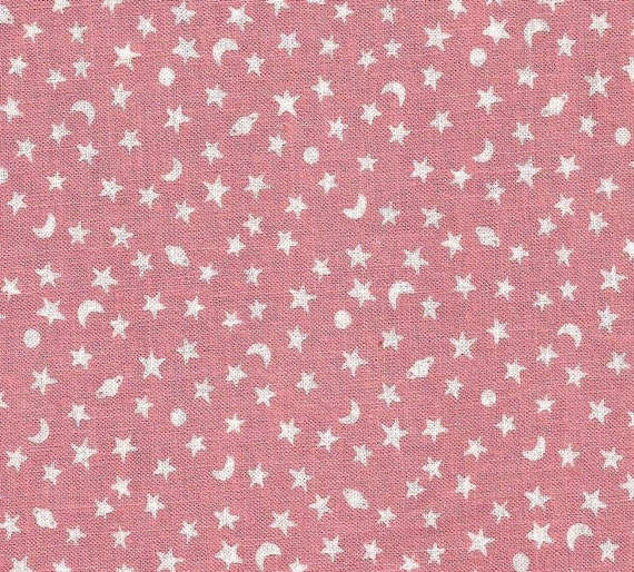 Pink moon and stars print cotton fabric 2 yards for Moon and stars fabric