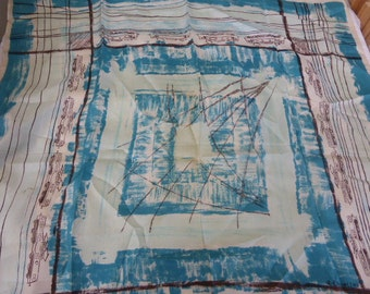 SCARFof  a. EHINETTE from paris, vintage on 1950-1960, trains, silk