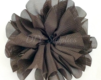 Brown ballerina flower - 3.5 inch fabric flower - Large double ruffle flower - Wholesale flowers - Twirl flower for headbands & hair clip